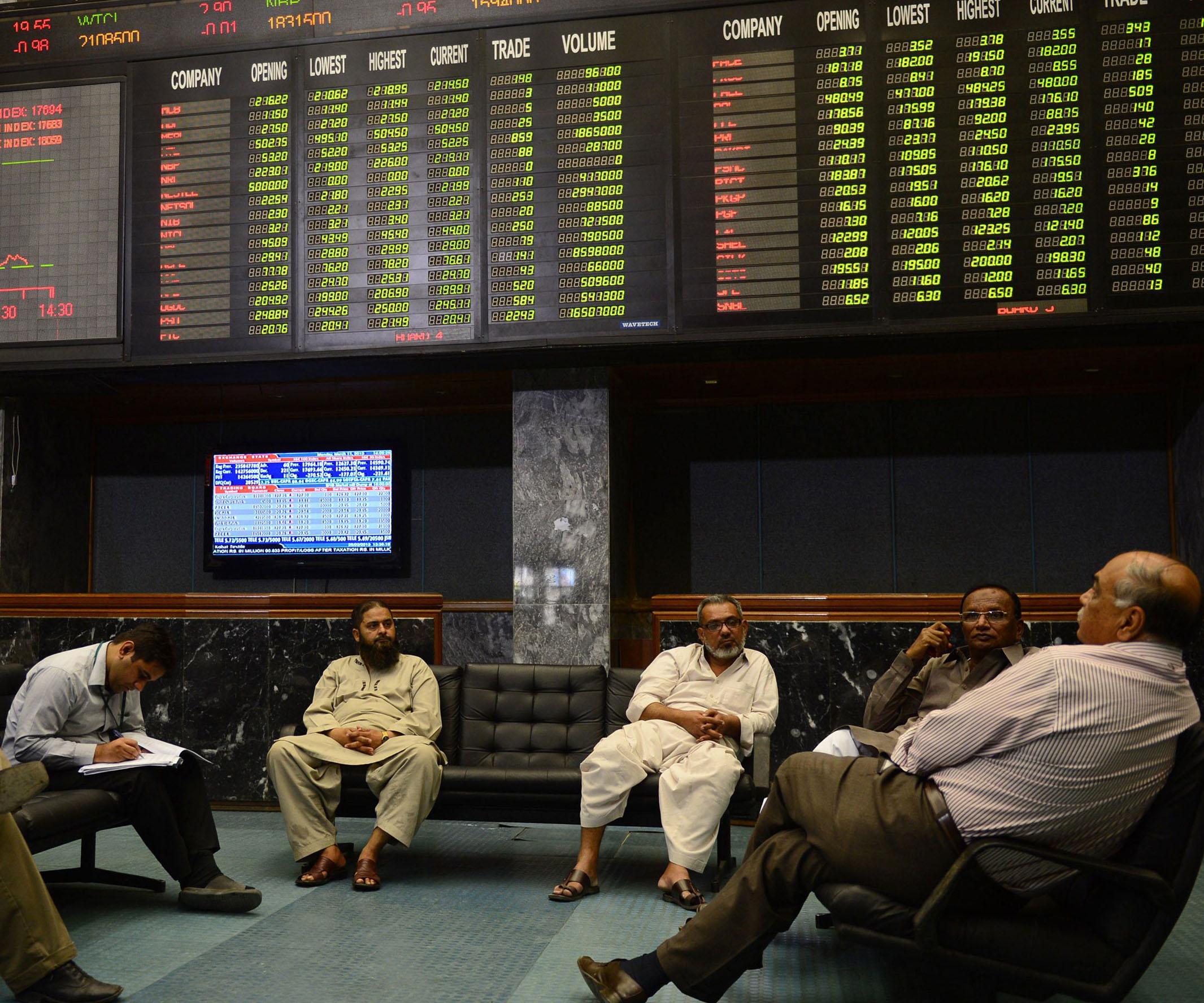 pakistan stock exchange lounge photo afp