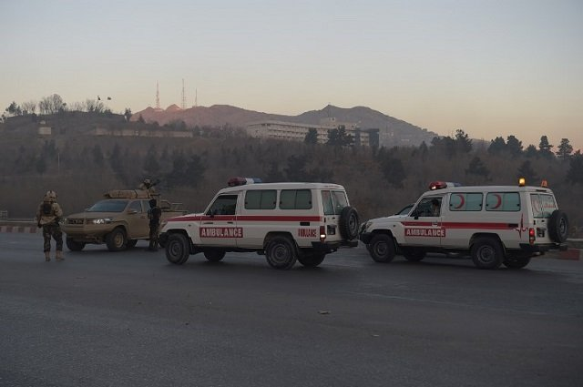 ambulances arrive near the intercontinental hotel following an attack in kabul on january 21 2018 photo afp