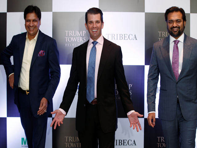donald trump jr with basant bansal chairman and managing director of m3m india and kalpesh mehta founder of tribeca developers in new delhi india on feb 20 2018 photo reuters