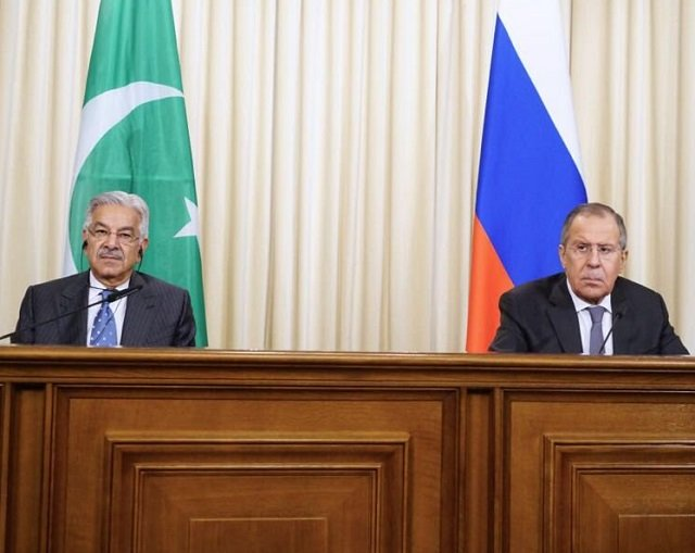 foreign minister khawaja asif meets his russian counterpart in moscow photo fo