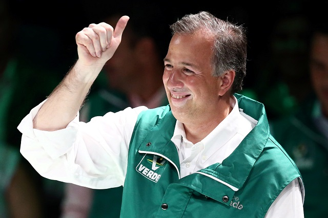 ruling institutional revolutionary party pri presidential candidate jose antonio meade gestures to members of the ecological green party of mexico pvem after he was sworn in in mexico city mexico february 20 2018 photo reuters