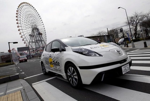 a self driving vehicle based on nissan leaf electric vehicle ev for easy ride service developed by nissan and mobile gaming platform operator dena is seen during its media preview in yokohama japan february 21 2018 photo reuters