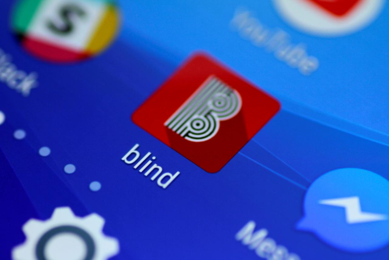 the blind anonymous work talk application is seen on a mobile phone in this illustration photo photo reuters
