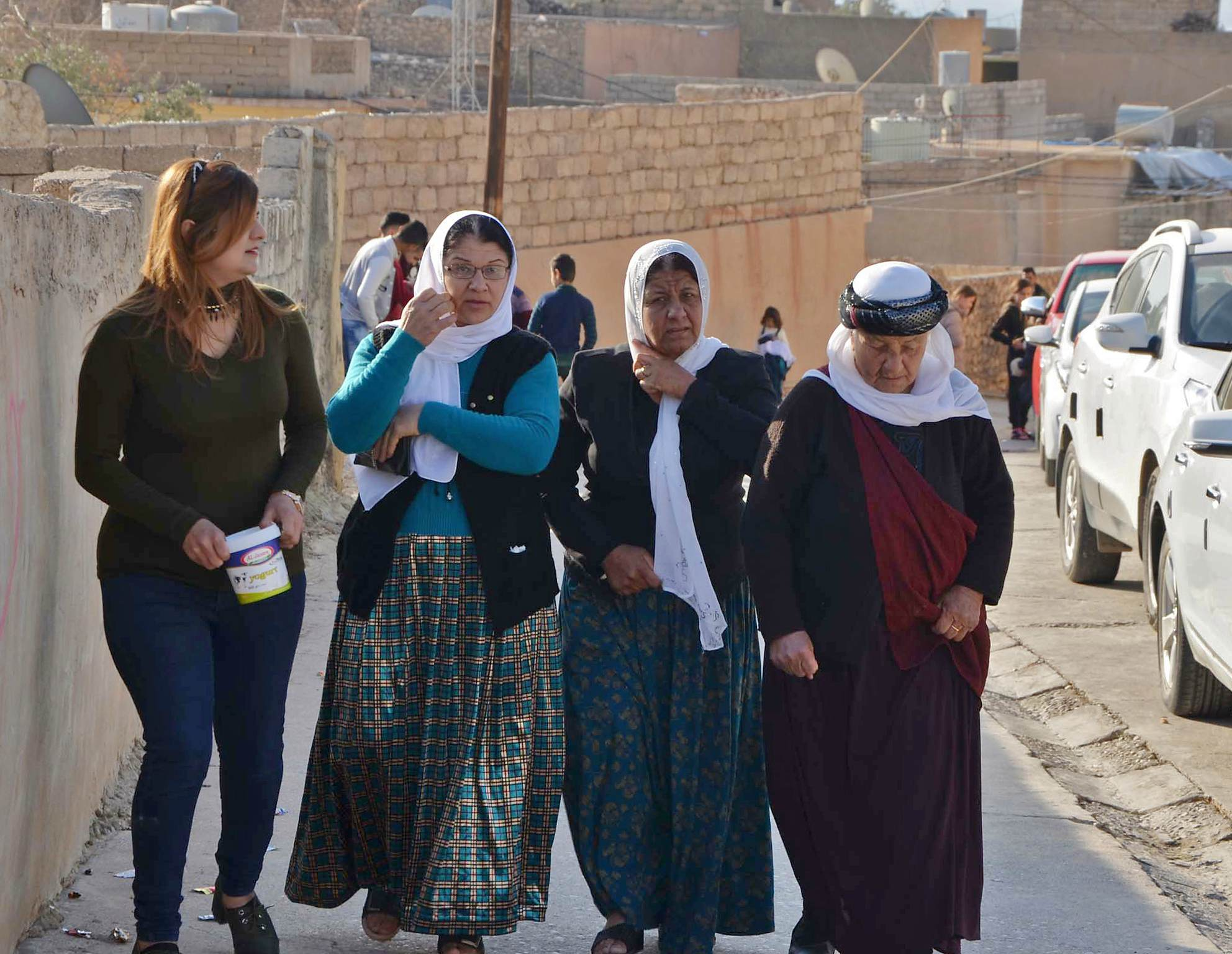 iraqi yazidis visit their temple during a ceremony earlier 2018 in the town of bashiqa some 20 kilometres north east of mosul photo afp file