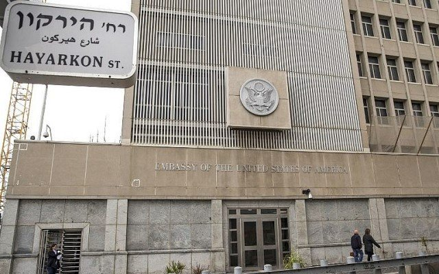 a picture shows the exterior of the us embassy in tel aviv on december 6 2017 photo afp