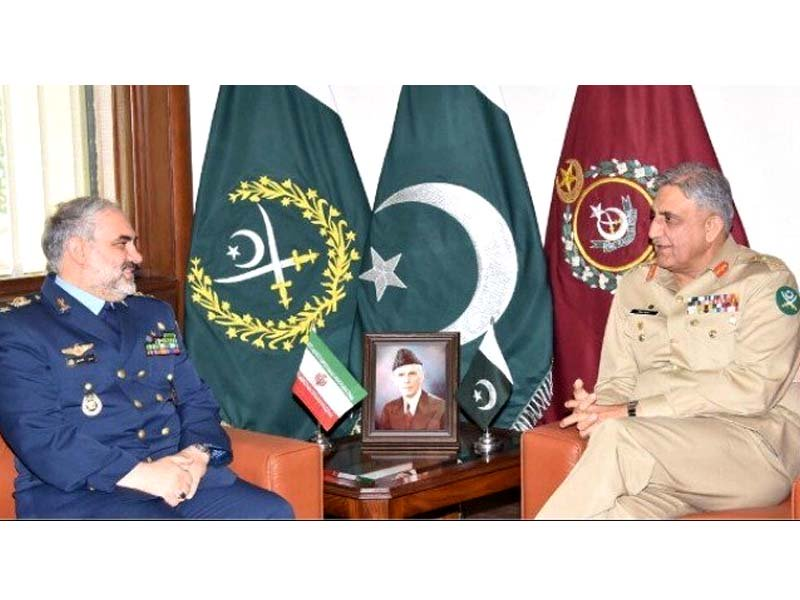 iranian air force chief brigadier general hassan shahsafi and general qamar javed bajwa in a meeting at the ghq on february 26 2018 photo ispr