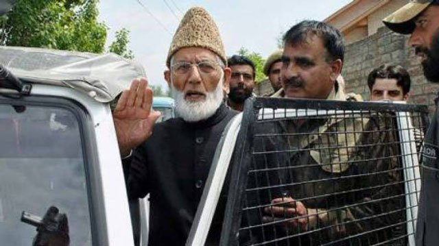 all parties hurriyet conference chairman syed ali gilani being taken into custody outside his home in srinagar on monday july 25 2016 photo radio pakistan