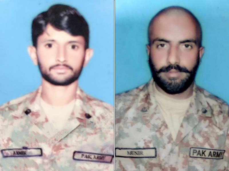 sepoy muneer chohan a 32 year old resident of kahuta village and sepoy amir hussain 28 a resident of bhimber district embraced martyrdom on wednesday photo ispr