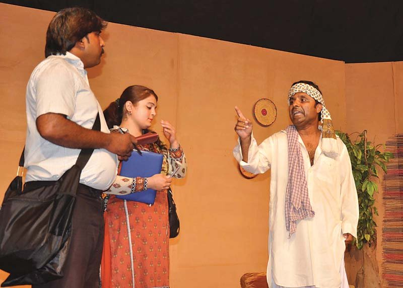 actors performing in a stage play held by the rawalpindi arts council photo express