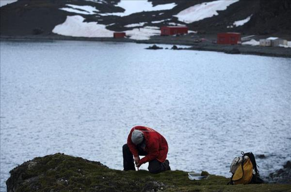 a scientist takes soil samples near spain 039 s juan carlos i base in the south shetland islands located on antarctica 039 s northern tip photo courtesy efe