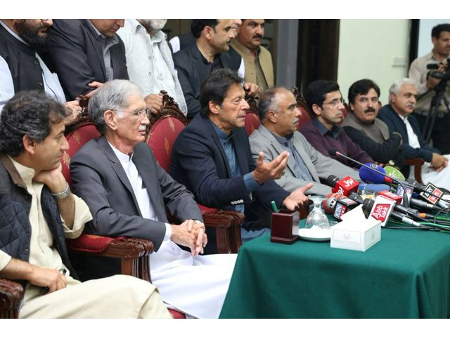 pti chief imran khan addressing a presser in peshawar on march 1 2018 photo pti
