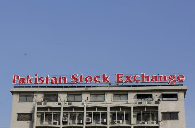 a sign of the pakistan stock exchange is seen on its building in karachi pakistan january 11 2016 photo reuters