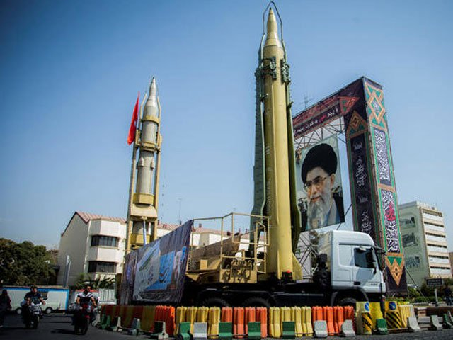 a display featuring missiles and a portrait of iran 039 s supreme leader ayatollah ali khamenei is seen at baharestan square in tehran iran september 27 2017 photo reuters
