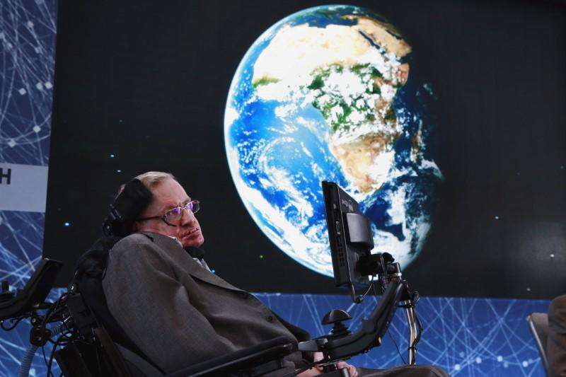 physicist stephen hawking sits on stage during an announcement of the breakthrough starshot initiative with investor yuri milner in new york photo reuters