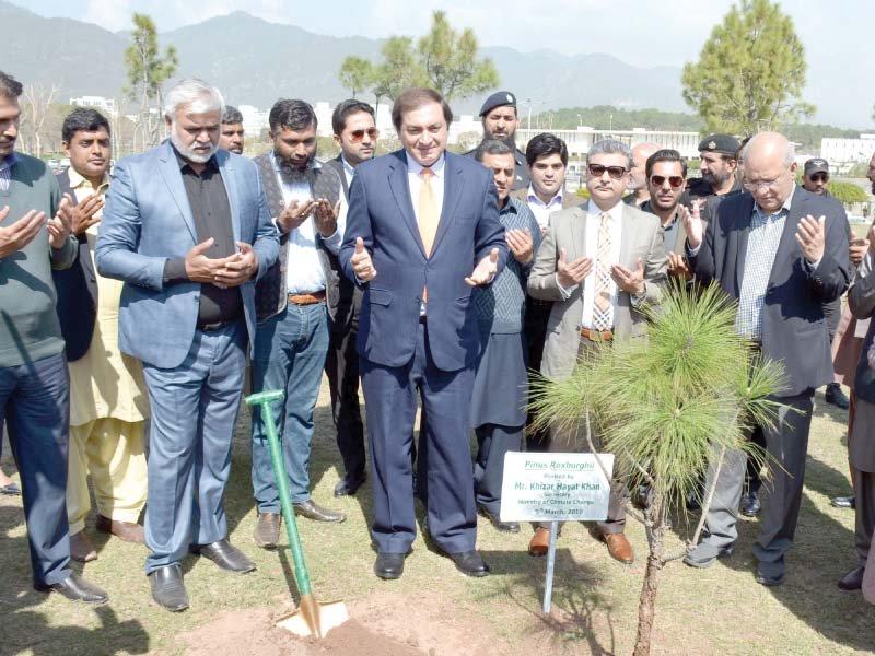 climate change minister mushahidullah khan plants a tree at d chowk photo mudassar raja express