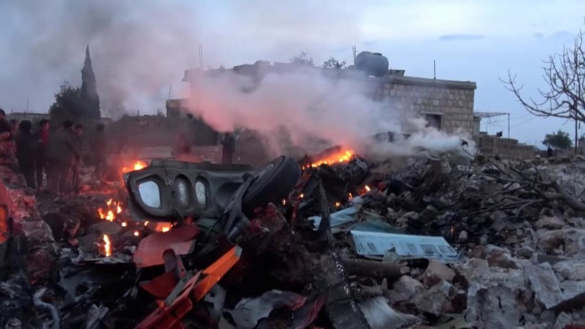 the scene shows what according to syrian rebels were fires caused by russian military plane shot down by rebel forces near idlib syria reportedly on february 3 2018 in this still image obtained from social media via reuters