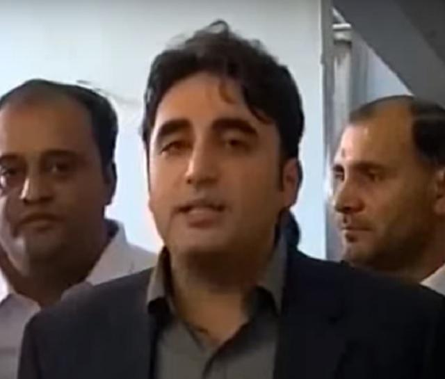 PPP chairman Bilawal Bhutto Zardari speaking to the media in Karachi on Wednesday. SCREENGRAB
