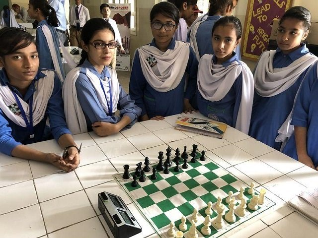 All girls chess team of SMB Fatima Jinnah Government Girls School, in Karachi, Pakistan. Picture taken February 24, 2017. PHOTO: Thomson Reuters Foundation
