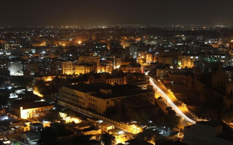skyline image of karachi city at night photo reuters