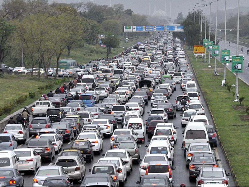 Increase in population has also brought more cars, traffic jams and pollution to Islamabad. PHOTO: APP