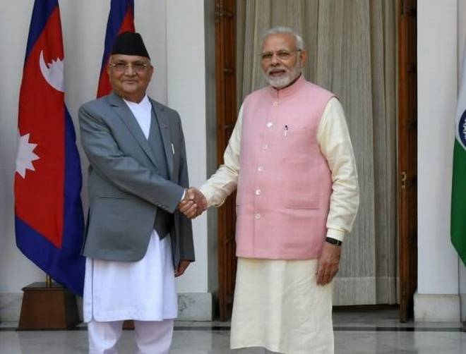 indian prime minister narendra modi with his nepalese counterpart khadga prasad oli prior to their meeting at hyderabad house in new delhi photo courtesy the hindu