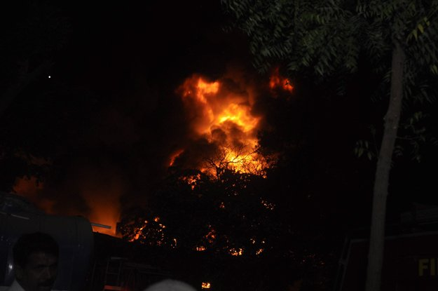 the blaze erupted at the city courts malkhana in karachi in the early hours of wednesday photo rashid ajmeri