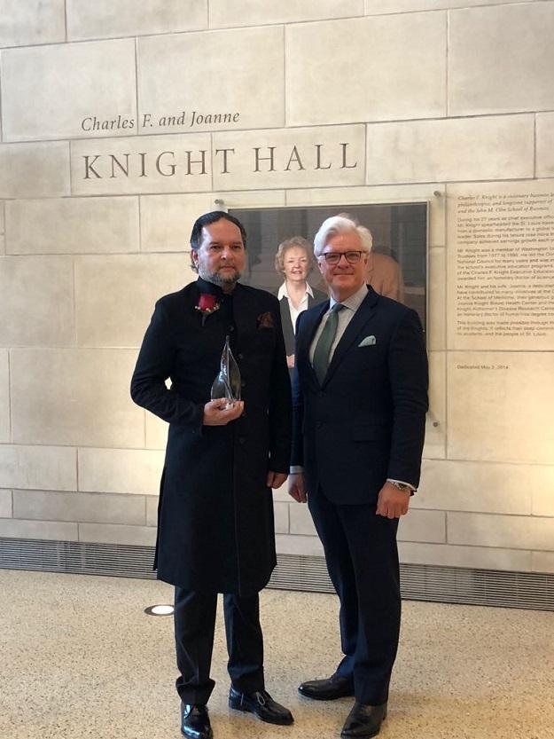 pakistani american honoured as distinguished alumni at washington university