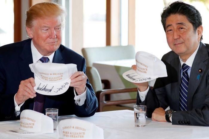 trump hosts abe with north korea trade on the agenda