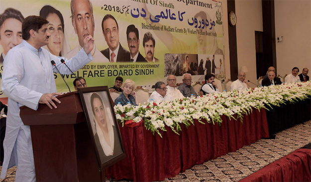 cm murad ali shah speaking at a ceremony to mark international labour day photo nni