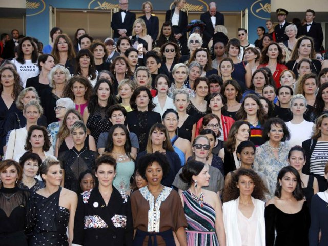 women protest at cannes film festival red carpet