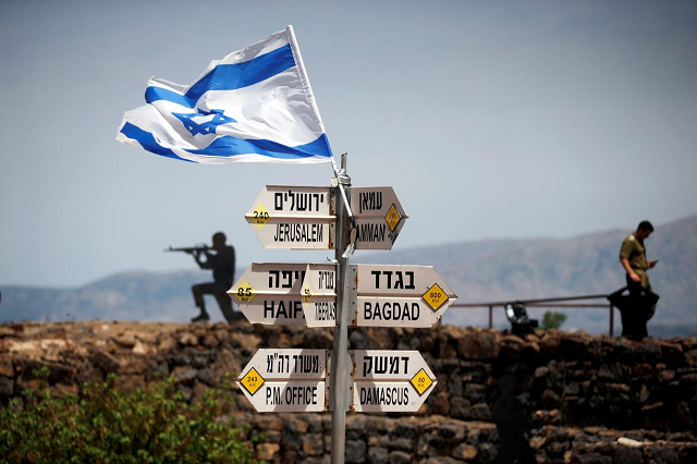 The Golan Heights form a strategic plateau between Israel and Syria of about 1,200 square kilometers  PHOTO: REUTERS