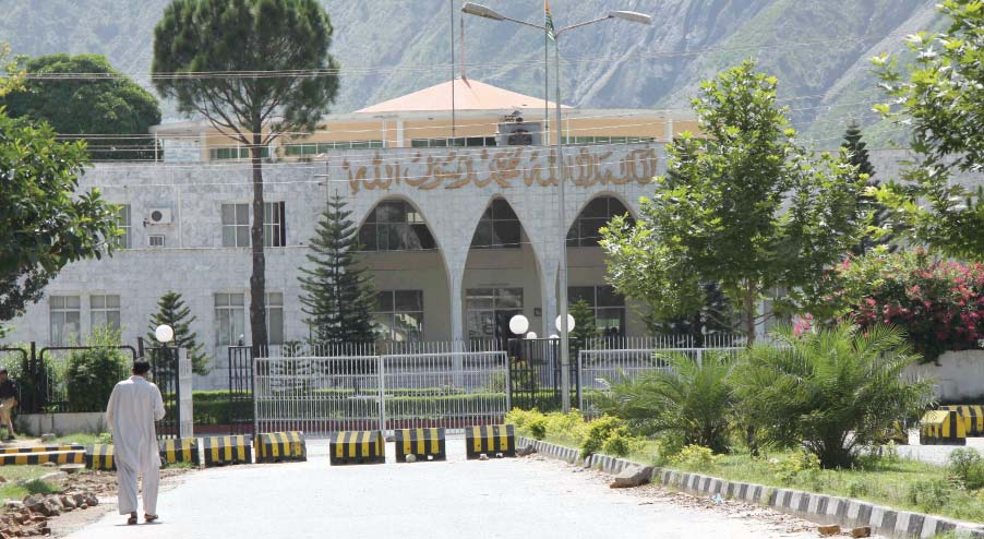 A view of the AJK legislative assembly where a resolution of no-confidence against the PM was passed. PHOTO: EXPRESS
