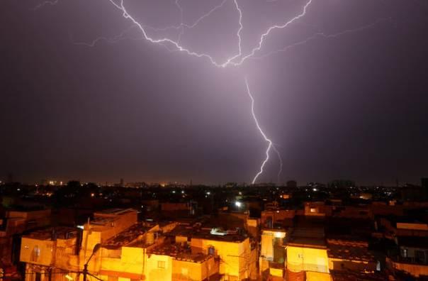 Lightening strikes in Karachi. PHOTO: REUTERS