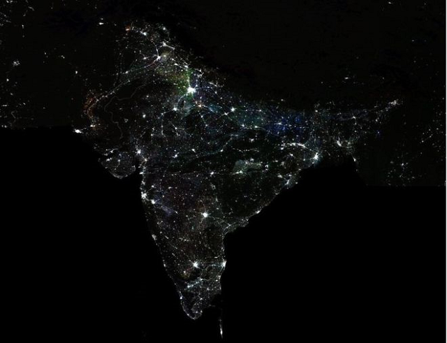 the economists used the night lights to gather data and study 387 out of 640 districts from 12 states photo nasa