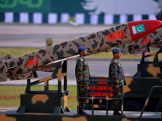 Pakistan Army soldiers travel on a vehicle carrying cruise missile Ra'ad during the Pakistan Day military parade in Islamabad on March 23, 2016. PHOTO: AFP/FILE