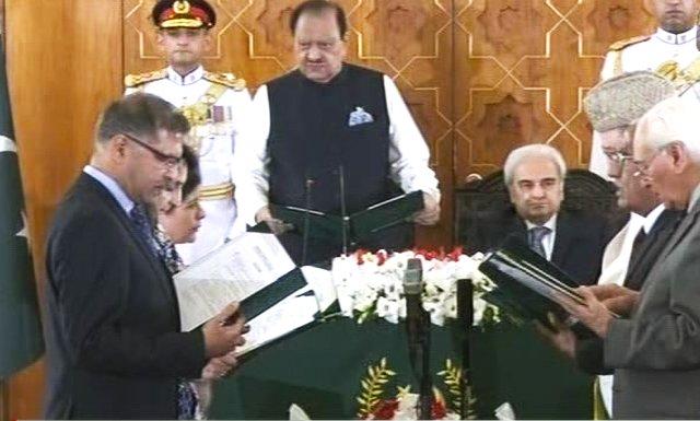 caretaker setup six member federal cabinet takes oath