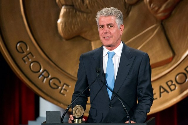 """Television personality Anthony Bourdain speaks about the show """"Parts Unknown"""" after the show won a Peabody Award in New York, US, May 19, 2014. PHOTO: REUTERS"""