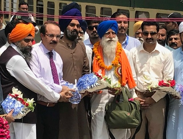 Despite boycott from official Sikh committees in India, 84 pilgrims reach Pakistan on 9-day-long trip on Friday. PHOTO: EXPRESS
