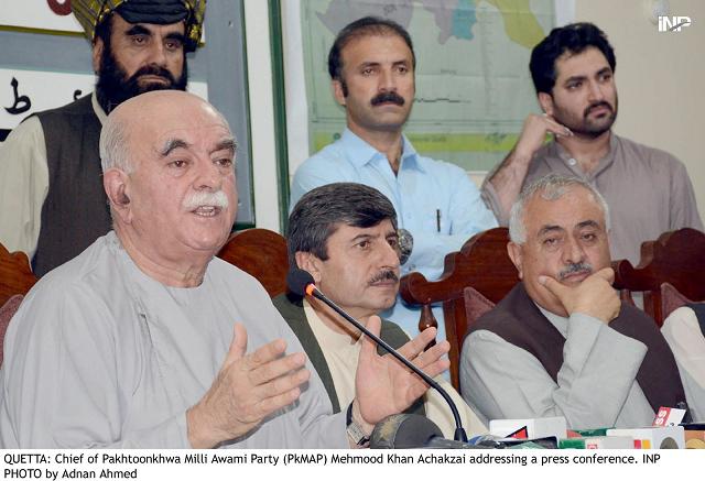 pkmap chairman mehmood khan achakzai addressing a press conference at the quetta press club photo inp
