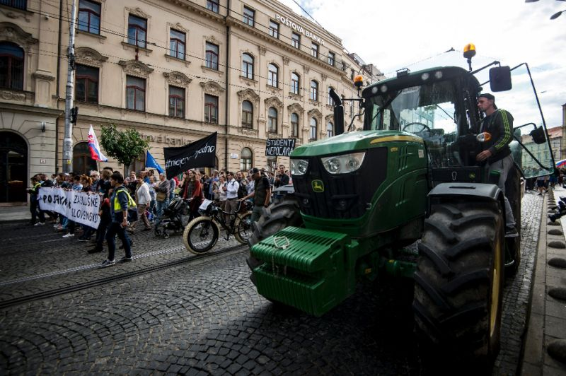 slovak farmers on tractors join anti government protesters
