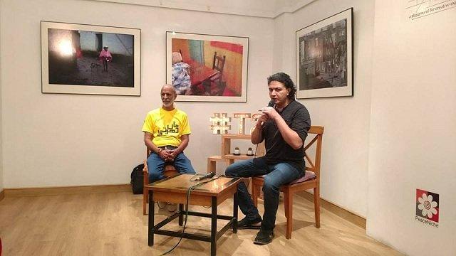 Arieb Azhar launching the Maa Dharti Project with prominent environmentalist Tofiq Pasha Mooraj at T2F - PHOTO COURTESY MUHAMMAD SALMAN KHAN