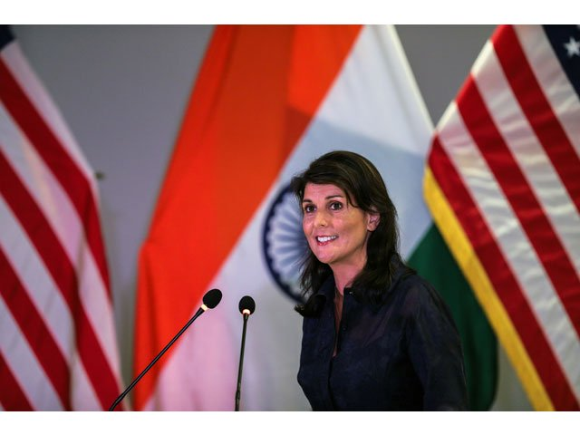 us ambassador to the united nations nikki haley speaks during an address on advancing india us relations at an event in new delhi on june 28 2018 photo afp