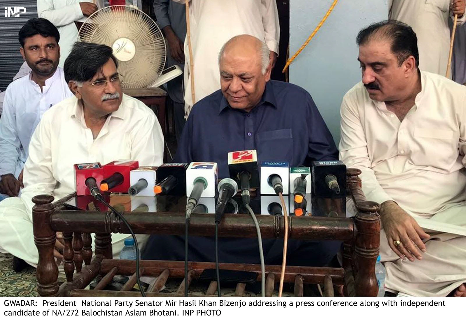 national party chief hasil bizenjo along with independent candidate of na 272 aslam bhootani addresses the media photo express