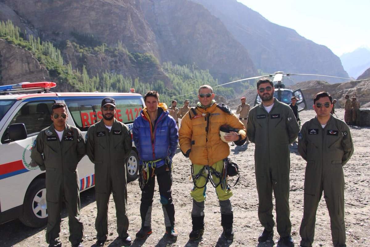 Mountaineers rescued by the army. PHOTO: ISPR
