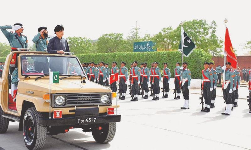 Former interior minister Chaudhry Nisar Ali Khan reviewing The Parade On The Occasion Of Passing Out-Parade Ceremony Of ICT Police Recruits in 2016. PHOTO: APP