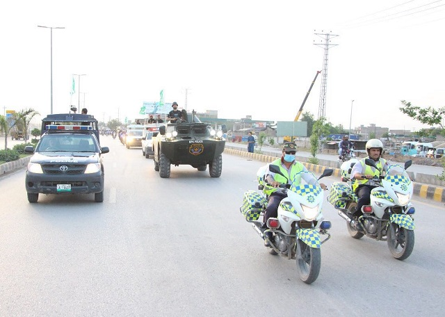 A flag march was organised to show preparedness of the police force. PHOTO: EXPRESS