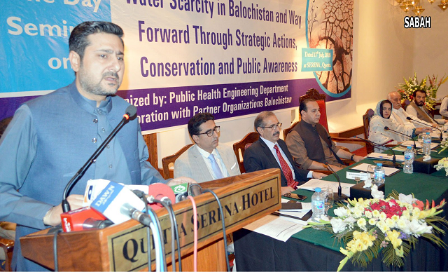 Caretaker Balochistan Chief Minister Alauddin Marri speaking at a seminar on importance of water in Quetta. PHOTO: SABAH
