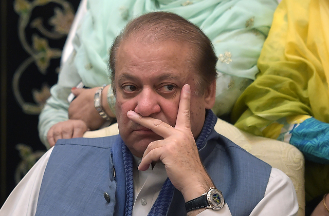 Nawaz Sharif was denied counsel with his legal team today. PHOTO:AFP