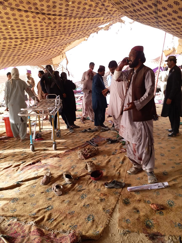 Victims in blood-smeared clothes were taken to hospitals in Mastung and Quetta, where they were greeted by tense crowds of mourners.   PHOTO:AFP/File