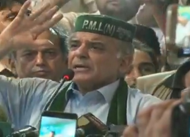 Shehbaz Sharif addressing supporters in Mingora on July 20, 2018. EXPRESS NEWS SCREEN GRAB